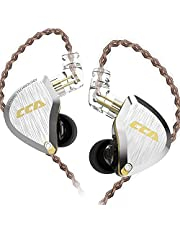 CCA C10PROヘッドフォン高解像度ヘッドフォン1DD + 4BAハイブリッドHIFIヘッドフォン高感度モニターシルバーメッキヘッドフォン有線スポーツヘッドフォンバランスヘッドフォン(ブラック、マイク)