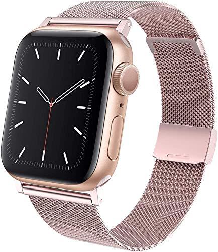 Restey Correa de repuesto compatible con Apple Watch, 38 mm, 40 mm, 42 mm, 44 mm, metal de acero inoxidable, compatible con iWatch Serie 6/SE/5/4/3/2/1 (42/44 mm, oro rosa)