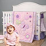 Brandream Crib Bedding Sets for Girls Upgraded Purple Butterfly Nursery Bedding Floral Ambroidered Baby Crib Set, Pink & Purple, 5 Pieces