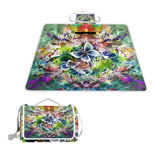 XINGAKA Picknickdecke,Magischer Schmetterling Schmetterlinge tanzen Graffiti abstrakte Kunst 3D Druck,Outdoor Stranddecke wasserdichte sanddichte tolle Picknick Matte