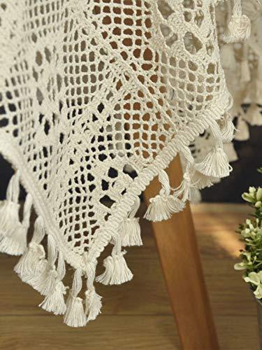 ZQ&QY Encaje Hecho A Mano Mantel con Astuca,Apertura Rectangular Cubierta De Mesa Crochet De Algodón Protector Tabla para Fiestas Cena-Beige 140x200cm(55x79inch)
