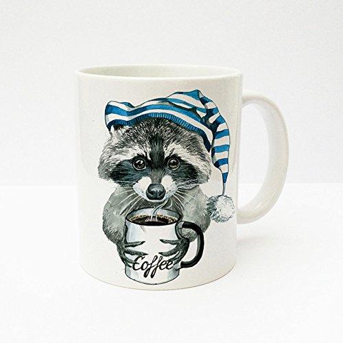ilka parey wandtattoo-welt Tasse Becher Waschbär mit Kaffeetasse und Schlafmütze ts213