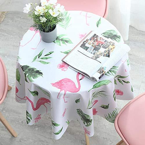 Traann tafelkleden van kunststof afwasbaar, ronde flamingo in Scandinavische stijl 160