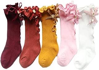 5PACK of Princess Ruffle Stockings, Knee High Socks, Long Socks for Toddler Girl Kids Baby