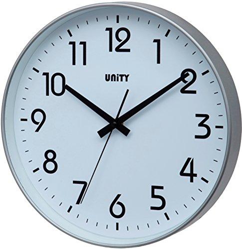 Unity Fradley - Reloj de pared silencioso, moderno, 30 x 30 x 5 cm, color plateado, pl?stico