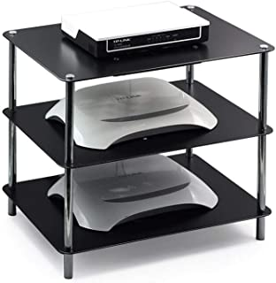Estante flotante de 3 niveles para componentes de TV, Rack de WiFi Rack Consola de TV Rack de equipo multimedia, Con ventilador de radiador de calor de Router, Routers / Remotos / Reproductores de DVD