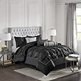 Madison Park Laurel Queen Size Bed Comforter Set Bed In A Bag - Black , Wrinkle Tufted Pleated – 7 Pieces Bedding Sets – Faux Silk Bedroom Comforters