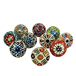 Artncraft 10 Pieces Set Dotted Ceramic Cabinet Colorful Knobs Furniture Handle Drawer Pulls (Design 0)