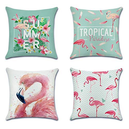 JOTOM Kissenbezüge, 4er-Set, Dekokissenbezug, dekoratives Design, quadratisch, für Sofa, Schlafzimmer, Auto, 45,7 x 45,7 cm Pink, Flamingo