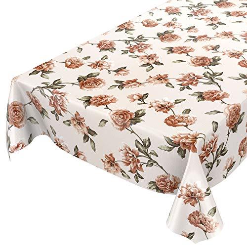 ANRO Wachstuch Tischdecke abwaschbar Wachstuchtischdecke Wachstischdecke Blumen Beige Textiloptik 100x140cm