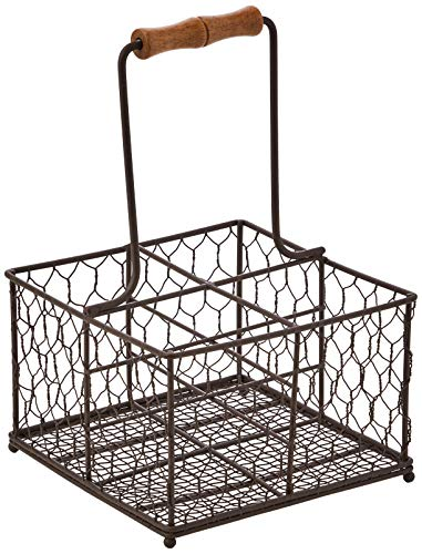 T&G Woodware Provence 4 Bottle Holder in Rustic Brown Wireware, Wood, 6