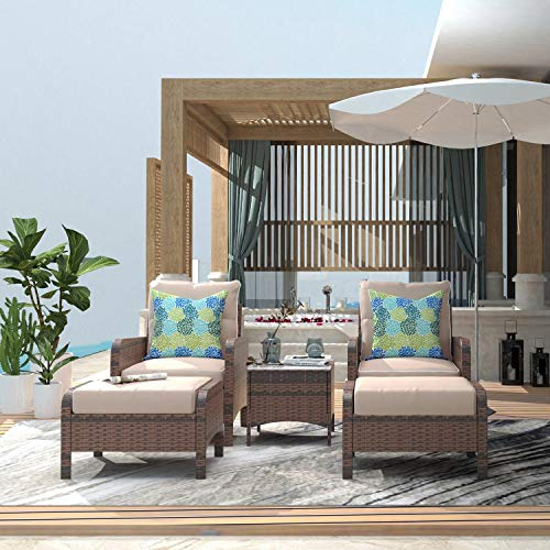 UKN 5 Pieces Patio Furniture Set Outdoor Wicker Rattan Chair and Ottoman with Cushions Side Table Brown Modern Contemporary Steel Cushion Included Handmade