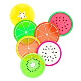 DomeStar Fruit Coaster, 7PCS 3.5' Non Slip Coasters Heat Insulation Colorful Unique Slice Silicone Drink Cup Mat for Drinks Prevent Furniture and Tabletop