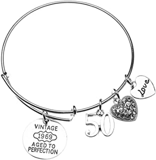 Infinity Collection 50th Birthday Gifts for Women, 50th Birthday Expandable Charm Bracelet, 1969 Aged to Perfection, Perfect 50th Birthday Gift Ideas for Women