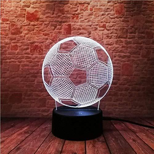 YOUPING Lámpara LED 3D elegante con sensor táctil en forma de balón de fútbol 3D de luz nocturna para aficionados al fútbol 7 colores cambiantes de la lámpara de iluminación