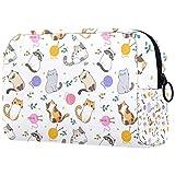 Bolsa de brochas de maquillaje personalizable, bolsa de aseo portátil para mujeres, bolso cosmético, organizador de viaje, el gato jugando con pelotas