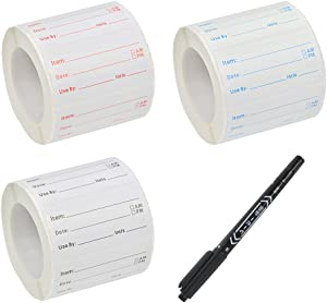 WOWOSS 3 Rolls/1500 Pieces Food Storage Labels Kit - Self-Adhesive Removable & Reusable Food Container Stickers with Marker Pen - Ideal for Home Restaurant Food Date Safe Supplies, 3 Colors