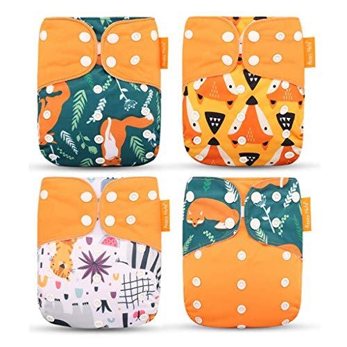 Wenosda 4PCS Pañales de tela para bebés Pañales de bolsil