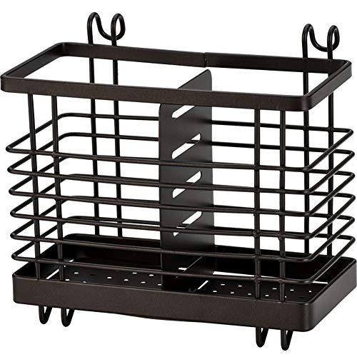 Hanging Metal Mesh Utensil Drying Rack 2 Compartments Draining Basket for Chopsticks Spoon Fork Knife Holder