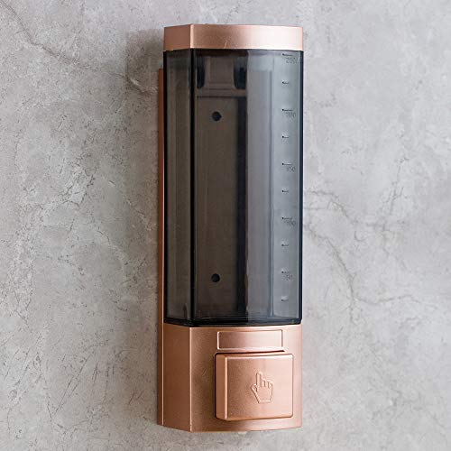 Soap Dispensers 250ml ABS Plastic Drill Free with Adhesive or Wall Mount with Screws Liquid Hand Soap Dispenser for Bathroom or Kitchen(Rose Gold)