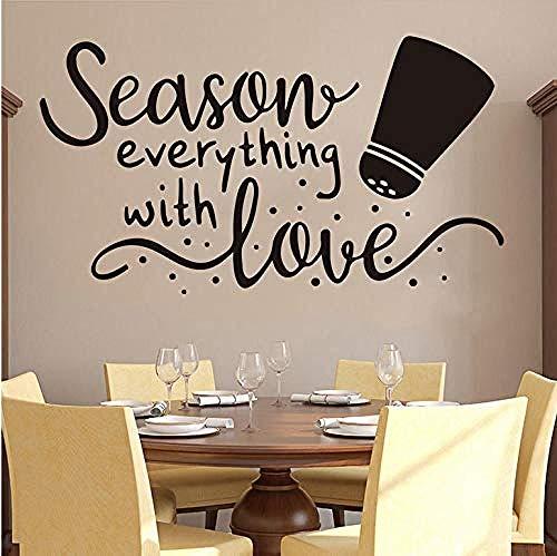 Frascos de condimento con especias ofrecen adhesivos de pared temporada de cocina temporada todo cocina restaurante familia amor utensilios de cocina ofrecen calcomanía de pared vinilo 56X32cm