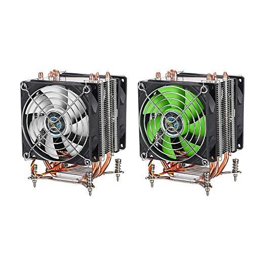 Xhtoe Computer Cooling Fan CPU Cooling Fan 4 Koper Buizen 3 Draad 90 cm Dual Fan Air Cooler 115X 1366 Schroeven CPU Radiator Zwart Groen Standaard Case Ventilator