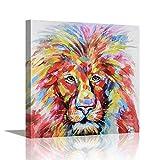 Pi Art Animal Canvas Wall Art Lion Head Painting Hand Painted on Canvas Print Framed Artwork for Man Boys Room Decor (24 x 24 inch, Lion)