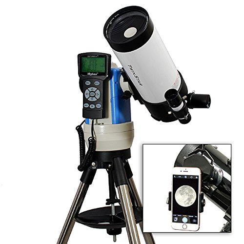 TwinStar White 90mm iOptron Computerized GPS Equatorial Cassegrain Telescope with Universal Smartphone Camera Adapter