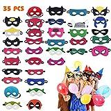 Máscaras de Superhéroe, Máscaras para Niños y Adultos, Máscaras de Cosplay de Superhéroe, Cuerda Elástica Máscaras de Ojos, Suministros de Fiesta de Superhéroes (35 Piezas )