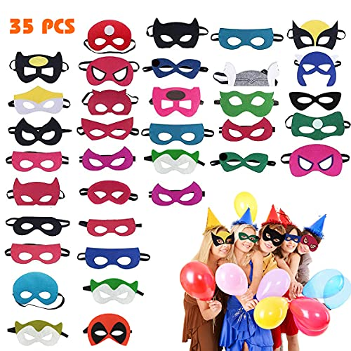 Hossom Maschere di Supereroi, 35 PCS Maschere Feltro Superhero Mask con Corda Elastica, Maschera per Bambini, Maschere da Festa per Supereroi per Regali di Compleanno e Giochi di Ruolo