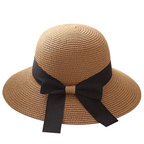 Flying Rabbit Damen Sonnenhüte Faltbarer Strohhut mit Sonnenschutz Breite Krempe (Style-1-Khaki)