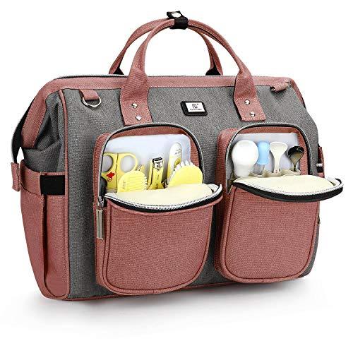 Pomelo Best Wickeltasche mit wasserdicher Wickelunterlage und 2 Kinderwagen Haken verstellbare Schultergurt multifunktionale Umhängetasche Reisetasche für Unterwegs (Rosa mit Grau)