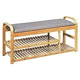 COSTWAY Schuhbank mit Sitzkissen Ablage, Schuhregal Tragkraft 150 kg, Sitzbank Bambus, Schuhschrank Polsterbank für Schlafzimmer, Wohnzimmer, Flur (100 x 33 x 50 cm)