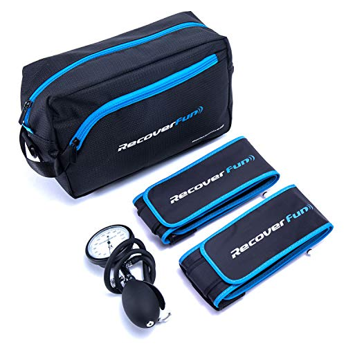 Recoverfun Blood Flow Restriction Cuffs (BFR) Training Therapy Occlusion Air Cuffs with Gauge and Pump for Arms and Legs Under Precise Pressure Tracking
