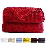 JSHANMEI 100 prozent Baumwolle, gestrickt, weich, warm, gestrickt, gehäkelt, für Couch, Sofa, Bett, Zuhause, Auto, Dekoration, 130 x 180 cm, maschinenwaschbar (rot)