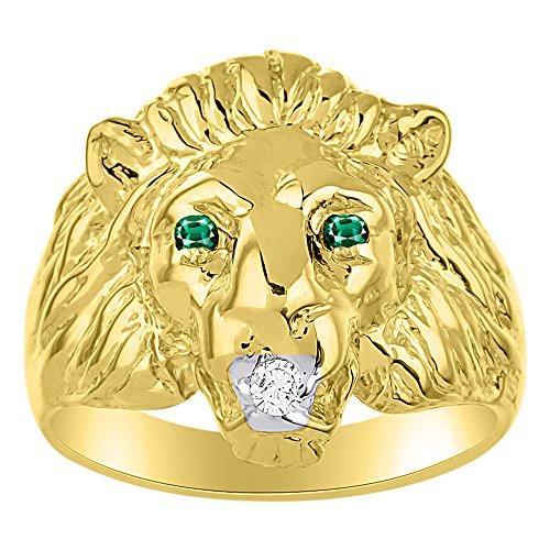Juego de anillos de cabeza de león con diamante auténtico en boca y esmeraldas naturales en los ojos, chapado en oro amarillo sobre plata 925.