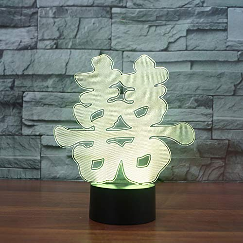 LED-Nachtlicht,Nachtlicht mit 7-farbigem Nachtlicht,Chinesisches Zeichen des doppelten Glücks Pattern,baby,Kinder,Geburtstagsgeschenk,Nachttischlampe,Tischlampe,Kinderzimmer,Weihnachtsgeschenk