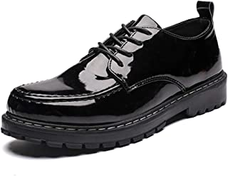 2019 Mens New Lace-up Flats Men's Business Leisure Oxford Shoes Waterproof, Slip-Proof and Air-Permeable Tie-Toed Polyurethane Wedding Garment Flat-Soled Shoes