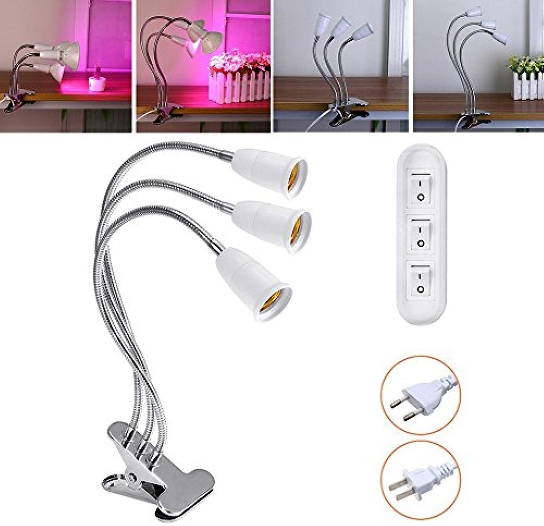 Wuchance 50 cm e27 flexible drei kpfe lampenfassung lampe adapter clip mit schalter für wachsen pflanze glühbirne LED-Licht (Farbe   EU plug)