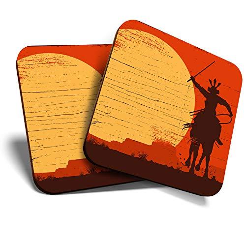 Posavasos de gran calidad (juego de 2) cuadrado/brillante calidad posavasos/mantel de protección para cualquier tipo de mesa – Guerrero samurai en caballo #12943