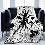Nice Fleece Bed Blankets, Jack Skellington Theme Painting Art Christmas Throw Blankets, Lightweight Ultra Cozy Family Blanket for Adult Kitchen Daycare