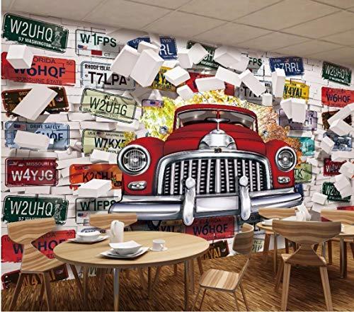 BXZGDJY Selbstklebende Tapete (B) 400X (H) 280Cm Fototapeten 3D-Tapete Oldtimer-Nummernschild Fototapeten Dekorative Wandbilder 3D-Tapete Wohnzimmer Kinder Jungen Schlafzimmer Kindergarten Wandtap