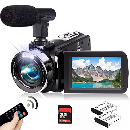 Video Camera Camcorder with Microphone 2.7K Full HD YouTube Vlogging Camera 42.0 MP 18X Digital Zoom Webcam Camera Recorder 3.0 Inch Screen with 2 Batteries and 32GB SD Card