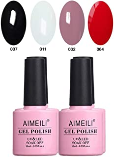 AIMEILI Gel Nail Polish Set Soak Off UV LED Gel Polish Black White Nude Red Multicolour/Mix Colour/Combo Colour Of 4pcs X 10ml - Gift Kit 19