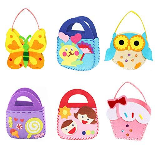 Asiv Kits de Couture pour Enfants, Sac à Main Non Tissé de Bricolage Mignon, Feutre en Tissu Cadeau de Couture Créatif pour Gamins Filles (Lot de 6)