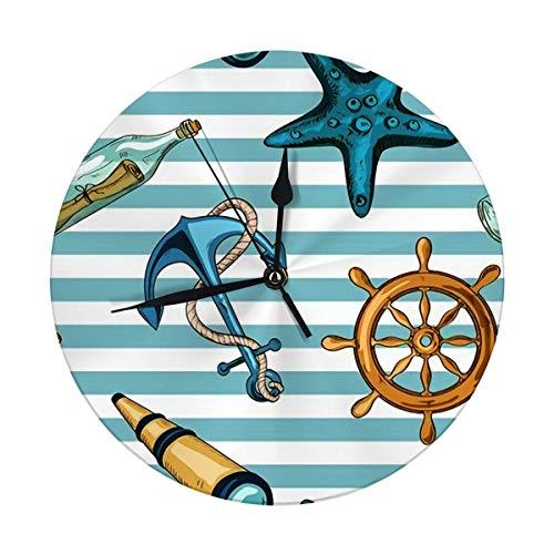 Reloj de pared sin tictac, 24,8 cm, diseño náutico, a rayas de ancla, estrella de mar, cristal de espía y botella con mensaje, grandes relojes redondos