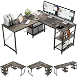 Bestier L-Shaped Desk with Storage Shelves Adjustable 95.2' 2 Person Desk Modern Industrial Corner Computer Desk, Large L Desk for Home Office Student Writing Gaming Workstation, Gray