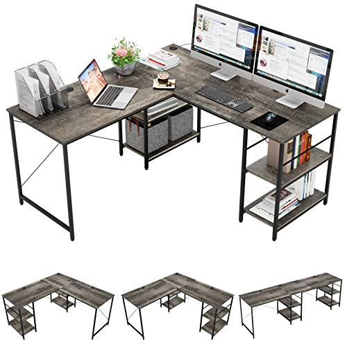 Bestier L Shaped Desk with Shelves 952 Inch Reversible Corner Computer Desk or 2 Person Long Table for Home Office Large Gaming Writing Storage Workstation P2 Board with 3 Cable Holes Gray