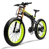 KT Mall Bicicleta eléctrica de 26 en Bicicleta eléctrica de montaña con 48V / 10AH de Litio-Ion para Cercanías Ciudad De trayecto de Ciclo al Aire Trabajar el Cuerpo Viaje,Verde
