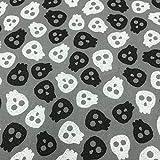 Kt KILOtela Tela por Metros de Patchwork - Estampación Digital - 100% algodón - 140 cm Ancho - Largo a elección de 50 en 50 cm | Calaveras Divertidas - Blanco, Negro, Gris